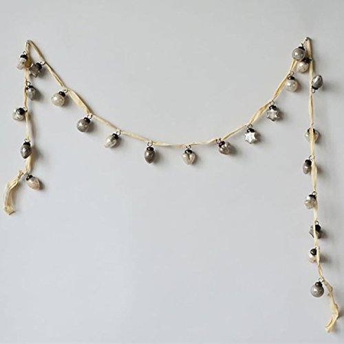 Creative Co-Op Cream/Taupe Embossed Mercury Glass Ornament Garland