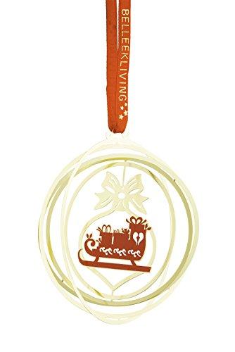 BELLEEK LIVING Golden Sleigh Ornament, Brass Red/Gold, 7 x 7 x 7 cm