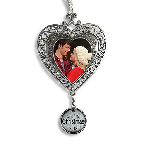 BANBERRY DESIGNS Our First Christmas Ornament 2019 – Silver Filigree Heart Shaped Photo Ornament – Xmas Picture Ornaments