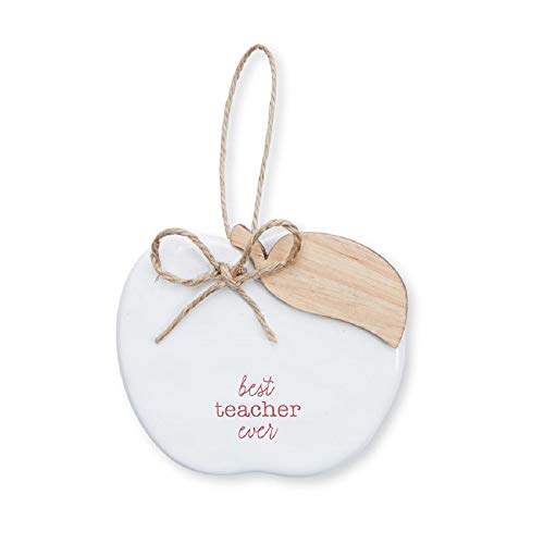 Mud Pie Best Teacher Ever Apple Shaped Ceramic Hanging Ornament
