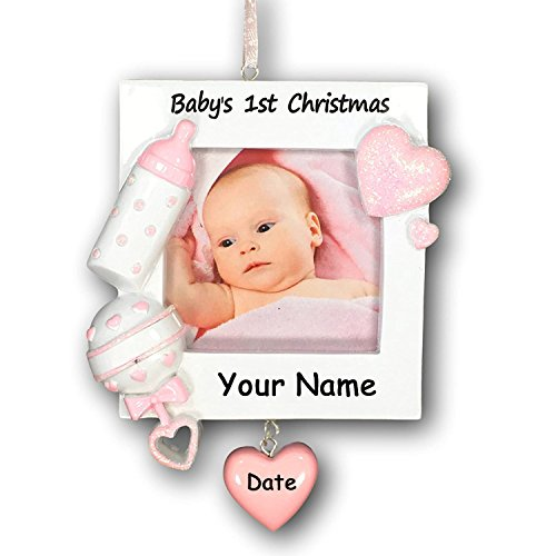 Personalized Baby's First Christmas Ornament Girl Picture Frame – Free Personalization