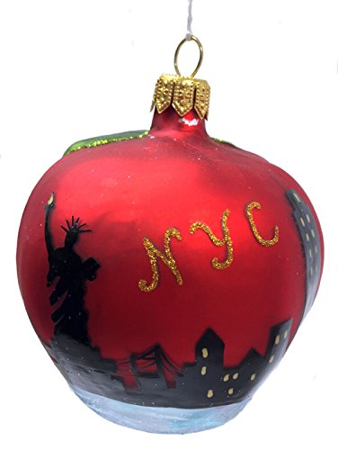 Pinnacle Peak Trading Company Apple with New York City Scene Polish Glass Christmas Ornament NYC America USA