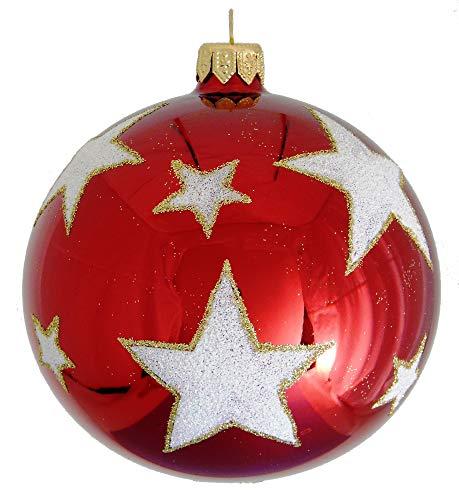 Landmark Creations' Red Ball with Glittered White Stars European Glass Christmas Ornament