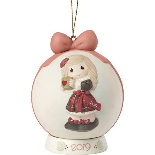 Precious Moments Heart Warming Christmas 2019 Dated Bisque Porcelain Ball 191003 Ornament, One Size, Multi