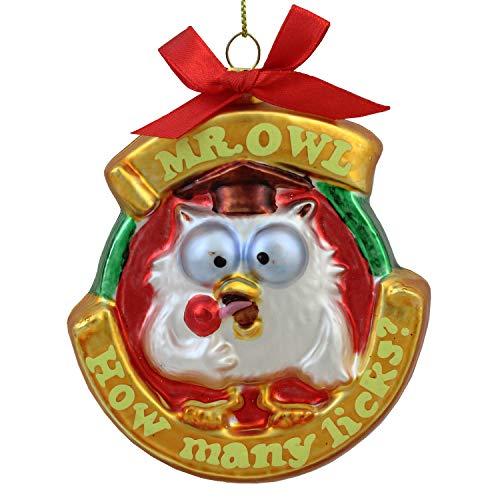 Northlight Roll Pop Original Candy-Filled Lollipop Mr. Owl Glass Christmas Ornament, 3.5″