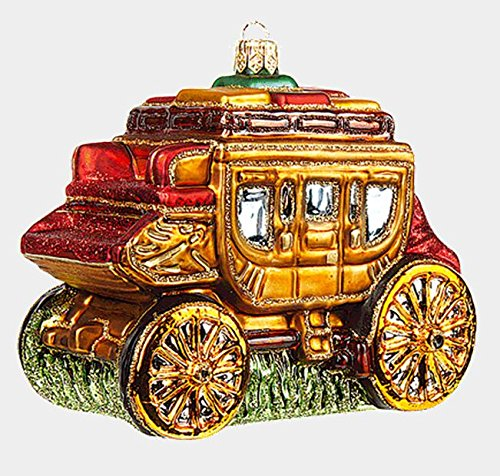 Pinnacle Peak Trading Company Western Stage Coach Wagon Polish Mouth Blown Glass Christmas Ornament Decoration