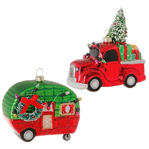 Raz Imports 4″ Truck & Camper Glass Ornament Set