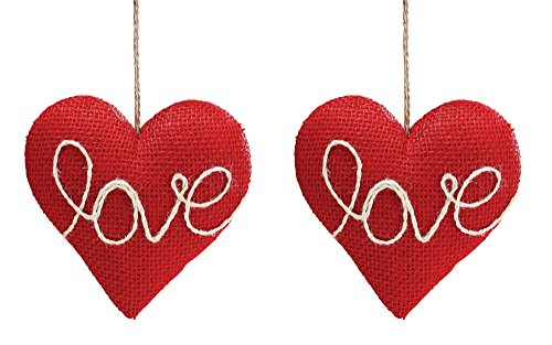 Red Love Heart-Shaped Hanging Ornaments – Valentines Day Decoration – Set of 2