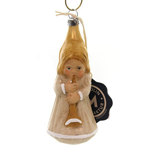 Marolin Angel w/Trumpet Glass Ornament Feather Tree Vintage 2011021