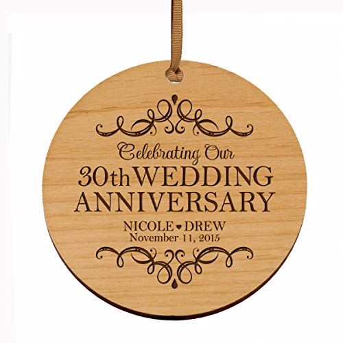 LifeSong Milestones Personalized 30th Anniversary Wood Style Christmas Ornament for 30 Years of Marriage – Thirty Year Wedding Keepsake Gift for Parents Husband Wife him her 3.75″ (Wood)