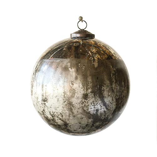 Creative Co-Op 8 Inch Glass Ornament, Black Oxidized Silver Finish