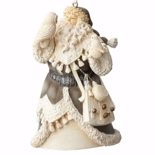 Foundations Woodland Santa with Owls Stone Resin Ornament, 4""
