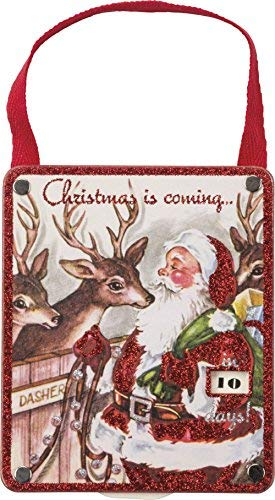 Primitives By Kathy Countdown 3.75 Inches x 4.50 Inches Christmas Is Coming Santa Sign