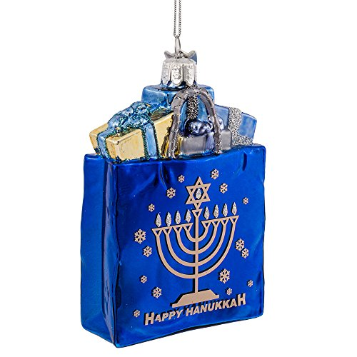 Kurt Adler 4″ Noble Gems Happy Hanukkah Glass Gift Bag Ornament (NB1126)