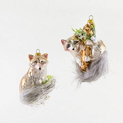 180 Degrees TT0715 Fox Raccoon Fluffy Furry Tail Set/2 Glass Ornament Animal Forest Woodland