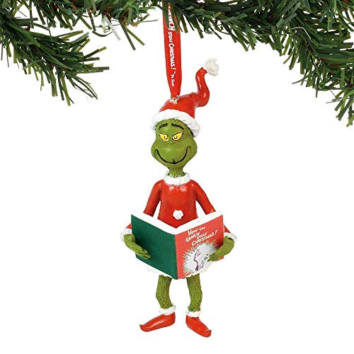 Department 56 Grinch with Book, 4.5″ Hanging Ornament, Multicolor