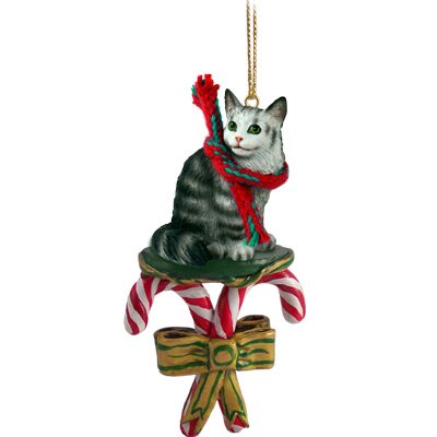 Conversation Concepts Silver Tabby Maine Coon Cat Candy Cane Ornament