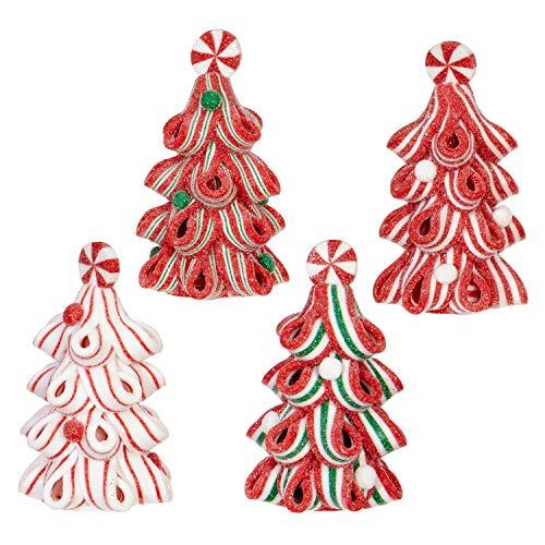 RAZ Imports Ribbon Candy Christmas Trees 2 x 3 Inch Claydough Ornaments Assorted Set of 4