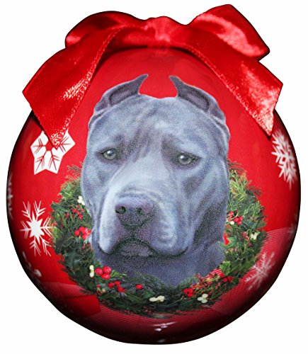 """""""Blue Pit Bull Christmas Ornament"""" Shatter Proof Ball Easy To Personalize A Perfect Gift For Pit Bull Lovers"""