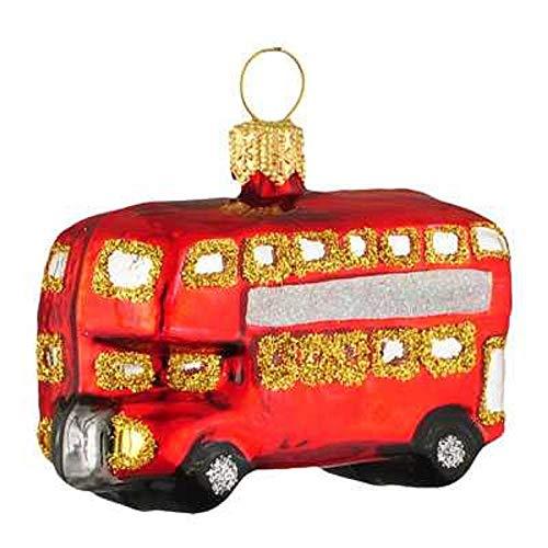 Pinnacle Peak Trading Company Mini Red London Double Decker Bus Polish Glass Christmas Ornament England Travel