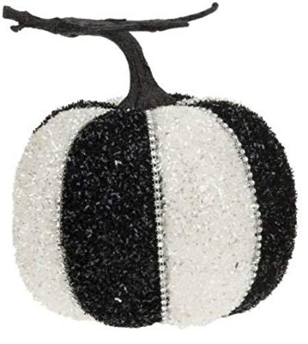 Mark Roberts Black White Diamond Trim Pumpkin – Decorative Pumpkins for Fall Halloween (7″)