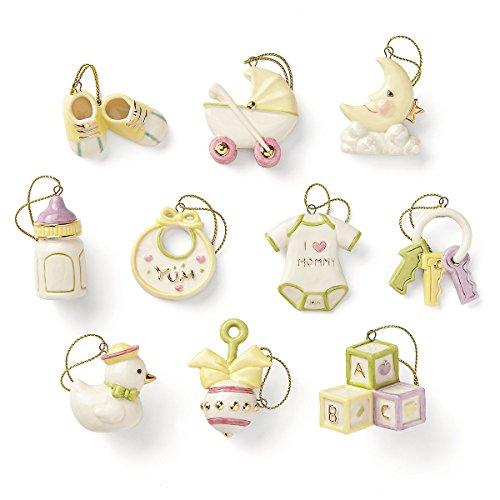 Lenox Baby Memories Miniature Tree Ornaments Set 10 Shower Gift Shoes Bib Bottle