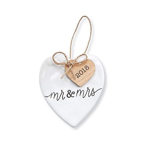 Mr & Mrs 2018 Heart Shaped Ceramic Hanging Ornament