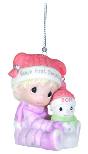 Precious Moments , 2011 Dated Ornament Baby's First Christmas Girl