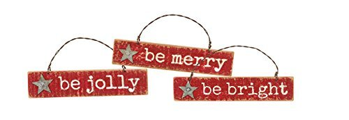 Primitives by Kathy Western Christmas 3pk Ornament Set (Be Bright),Red
