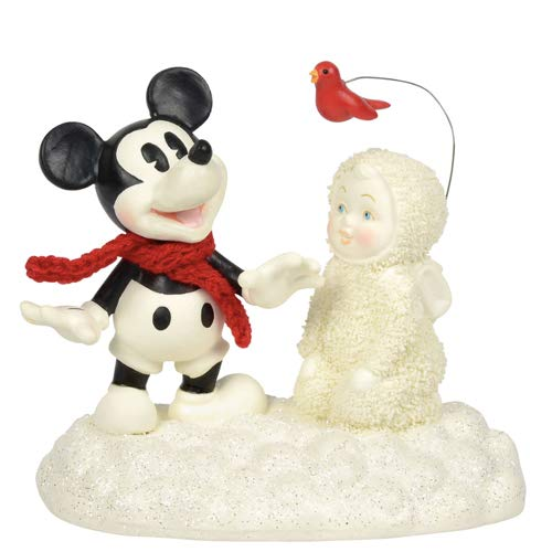 "Department 56 Snowbabies and Disney ""Snow Fun with Mickey"" Porcelain Figurine, 4"""