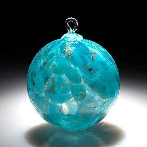 Ornament. Sun catcher. Hand blown Fine Art Glass Ornament in Teal. Made in Seattle. Artist Dehanna Jones.