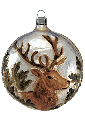 Marolin Stag Head MA2011037 German Glass Ornament w/Gift Box