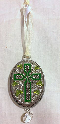 New Ganz Celtic Cross Ornament with Prism /Good Health Good Luck and Happiness
