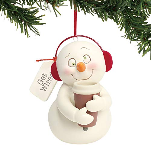 "Department 56 Snowpinions ""Get Wired"" Porcelain Snowman Christmas, 3″ Hanging Ornament, 3″, Multicolor"