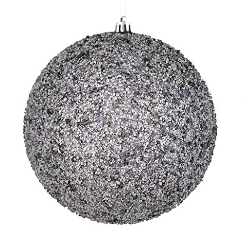 Vickerman 531761-4.75″ Silver Beaded Ball Christmas Tree Ornament (6 pack) (N185707D)