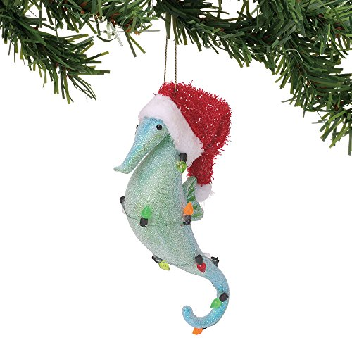 Department 56 Coastal Seahorse with Santa Hat Hanging Ornament, 5.25″, Multicolor