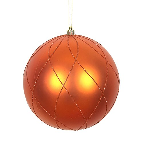 Vickerman 471975 – 8″ Burnish Orange Matte/Glitter Swirl Ball Christmas Christmas Tree Ornament (N170818D)