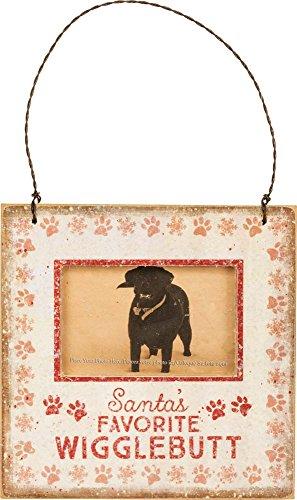 Primitives by Kathy Mini Hanging Ornament Frame Santa's Favorite Wigglebutt 4.5″ Square