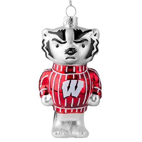 Topperscot Wisconsin Badgers Official NCAA Mascot Holiday Christmas Blown Glass Ornament 864549