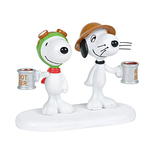 Department 56 Peanuts Village Accesory Snoopy and Spike Root Beer Toast Figurine, 2.25″, Multicolor