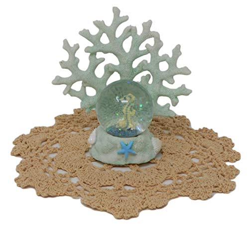 Beachcombers Coastal Life Decorative Water Ball with Westbraid Doily (Green Coral Seahorse, B21527)