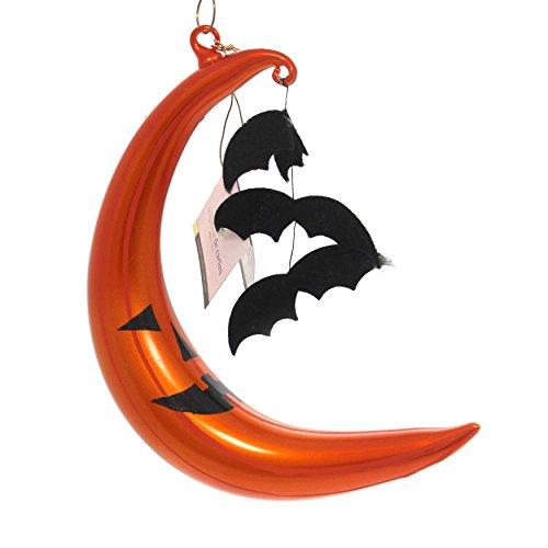 De Carlini Crescent Moon w/Bats Glass Ornament Jol Halloween V3556