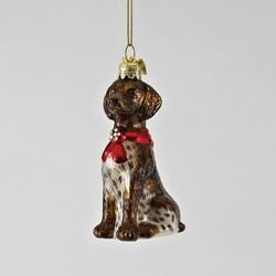 Kurt Adler German Shorthairedbr Pointer with Bow Ornament