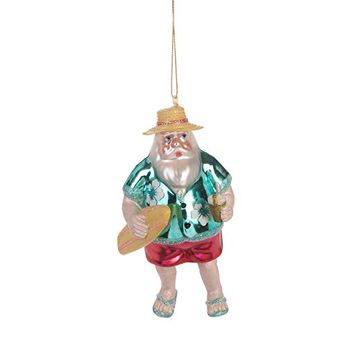 Beachcombers Coastal Life Decorative Beach Ornament with S-Hook (Santa w Surfboard, B21733)