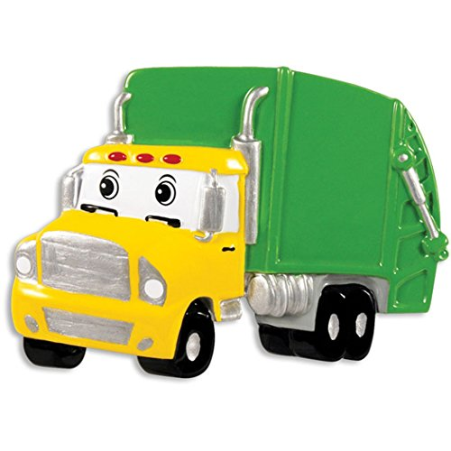 Personalized Garbage Truck Christmas Tree Ornament 2019 – Yellow Green Mighty Toy Machine Eyes 3rd Grade Trash Collector Boy Toddler Monster Pixar Car Colossu XXL Kid Gift Year – Free Customization