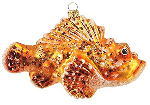 Pinnacle Peak Trading Company Spotted Scorpion Fish Polish Glass Christmas Tree Ornament Decoration Sea Life