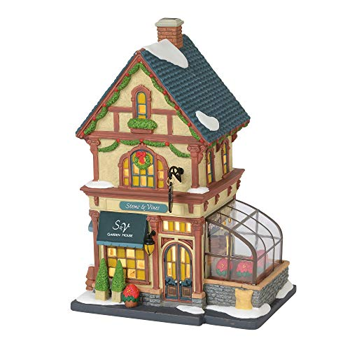 Department 56 Christmas in The City Village Stems and Vines Garden House Lit Building, 8.75″, Multicolor