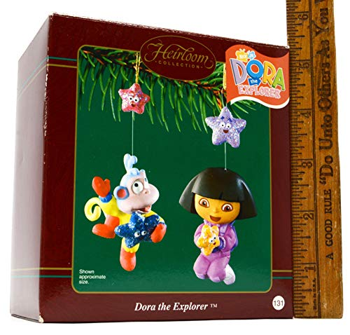 2003 Carlton Heirloom Dora the Explorer and Boots the Monkey Christmas Ornaments Set