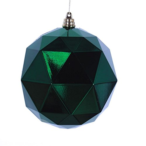 Vickerman 469385 – 8″ Emerald Shiny Geometric Ball Christmas Tree Ornament (M177524DS)