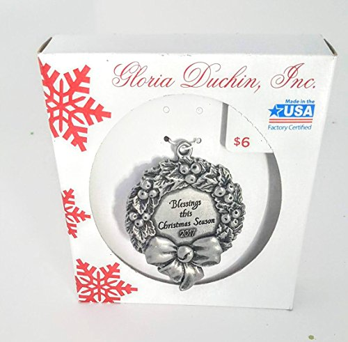 Gloria Duchin, inc Made in USA Cast pewter color metal Christmas Wreath ornament appx 2.5 in x 3 in.